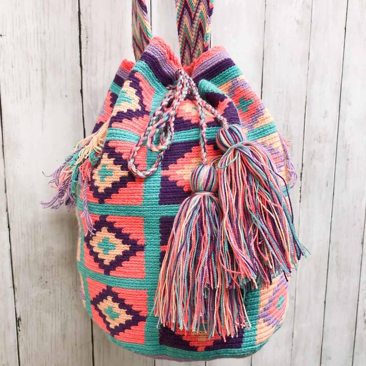 ワユーバッグ wayuu bag マザーズバッグ ショルダーバッグ レディース かごバッグ きれいめ ハンドメイド 手織り 南米 コロンビア 3_画像2