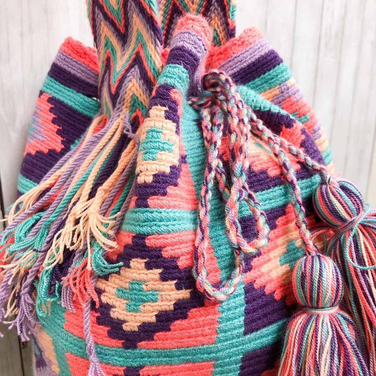 ワユーバッグ wayuu bag マザーズバッグ ショルダーバッグ レディース かごバッグ きれいめ ハンドメイド 手織り 南米 コロンビア 3_画像3
