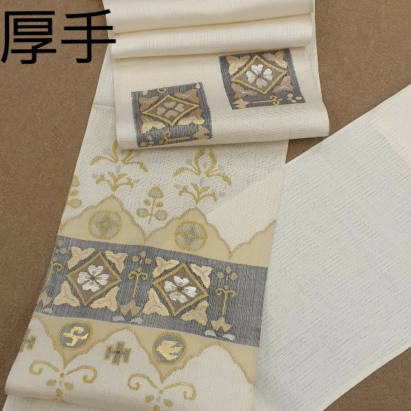 袋帯 正絹 生地 仮仕立て 柔らか クリーム色 白色 刺繍 はぎれ ハギレ リメイク ハンドメイド