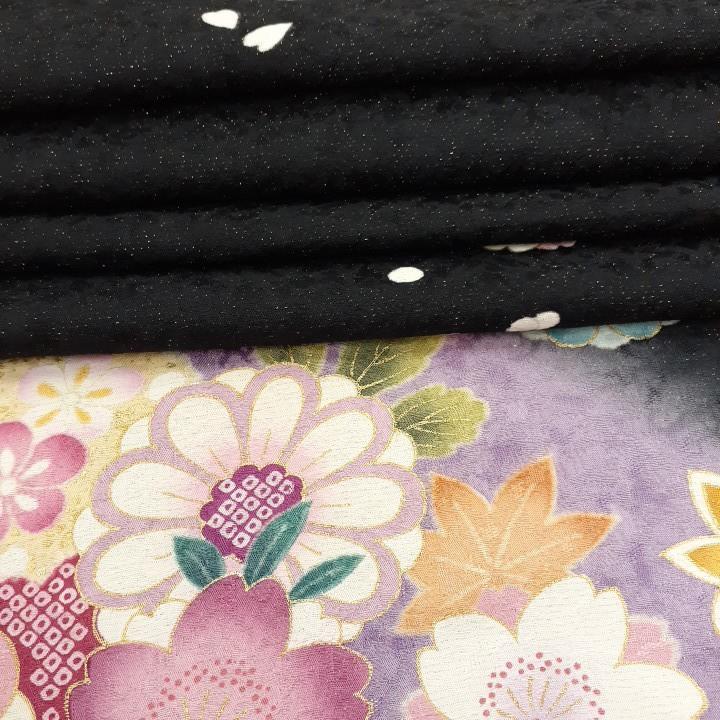 正絹 40101 振袖生地 黒色 紫ぼかし 花柄 桜 シルク はぎれ ハギレ リメイク ハンドメイド