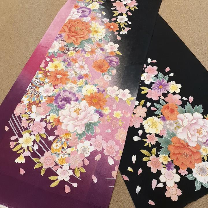 正絹 40905 振袖生地 黒色 紫 ピンク ぼかし 花柄 シルク はぎれ ハギレ リメイク ハンドメイド