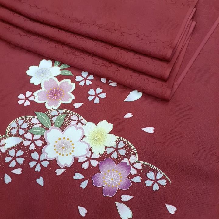 正絹 41306 渋い赤色 無地 ポイント柄 シルク はぎれ ハギレ リメイク ハンドメイド