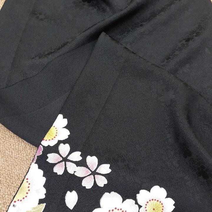 正絹 41950 黒色生地 シルク 桜 さくら サクラ はぎれ ハギレ リメイク ハンドメイド