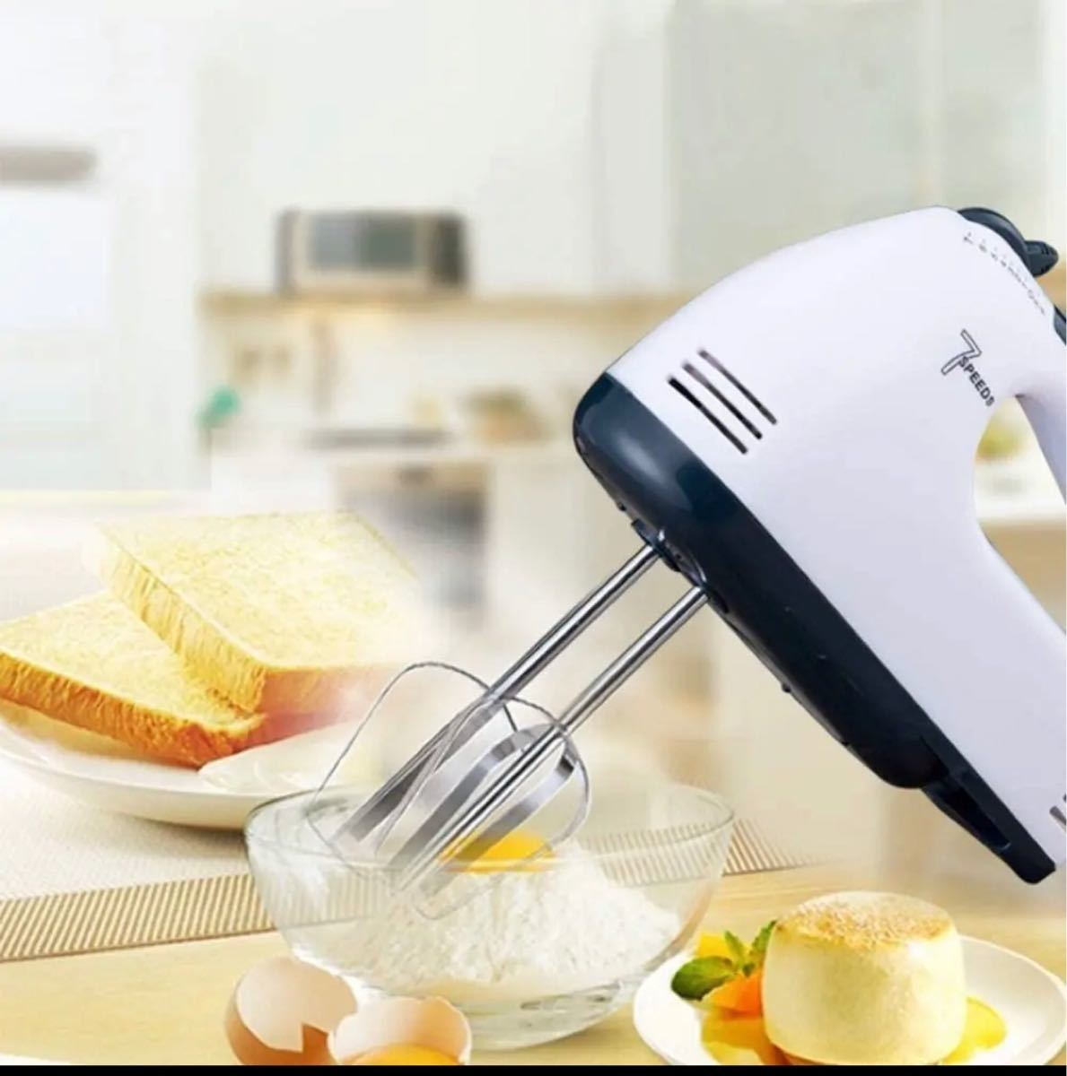 電気ハンドミキサー 泡立て器 キッチンベーキングケーキ用7速軽量ハンドヘルド
