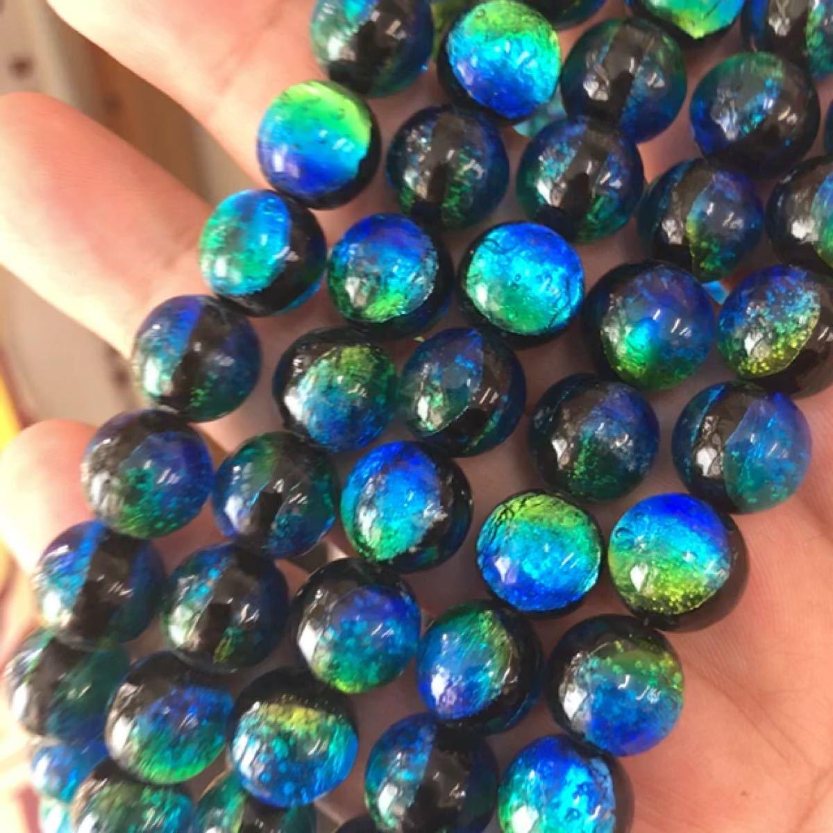 ケラマブルー 12mm 連売り 蓄光 ホタルガラス ブレスレット2本分 33粒 沖縄とんぼ玉