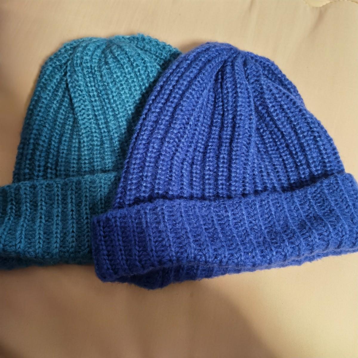ニット帽セット  ビーニー ニットキャップ ニット帽子 ブルー  青い