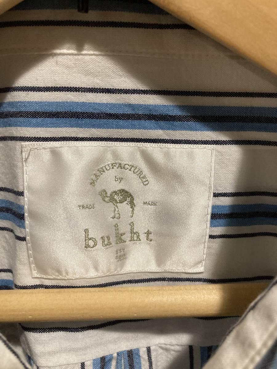 売り切り ブフト ストライプ シャツ bukht ブロック ワイド シェフ パンツ デニム_画像2