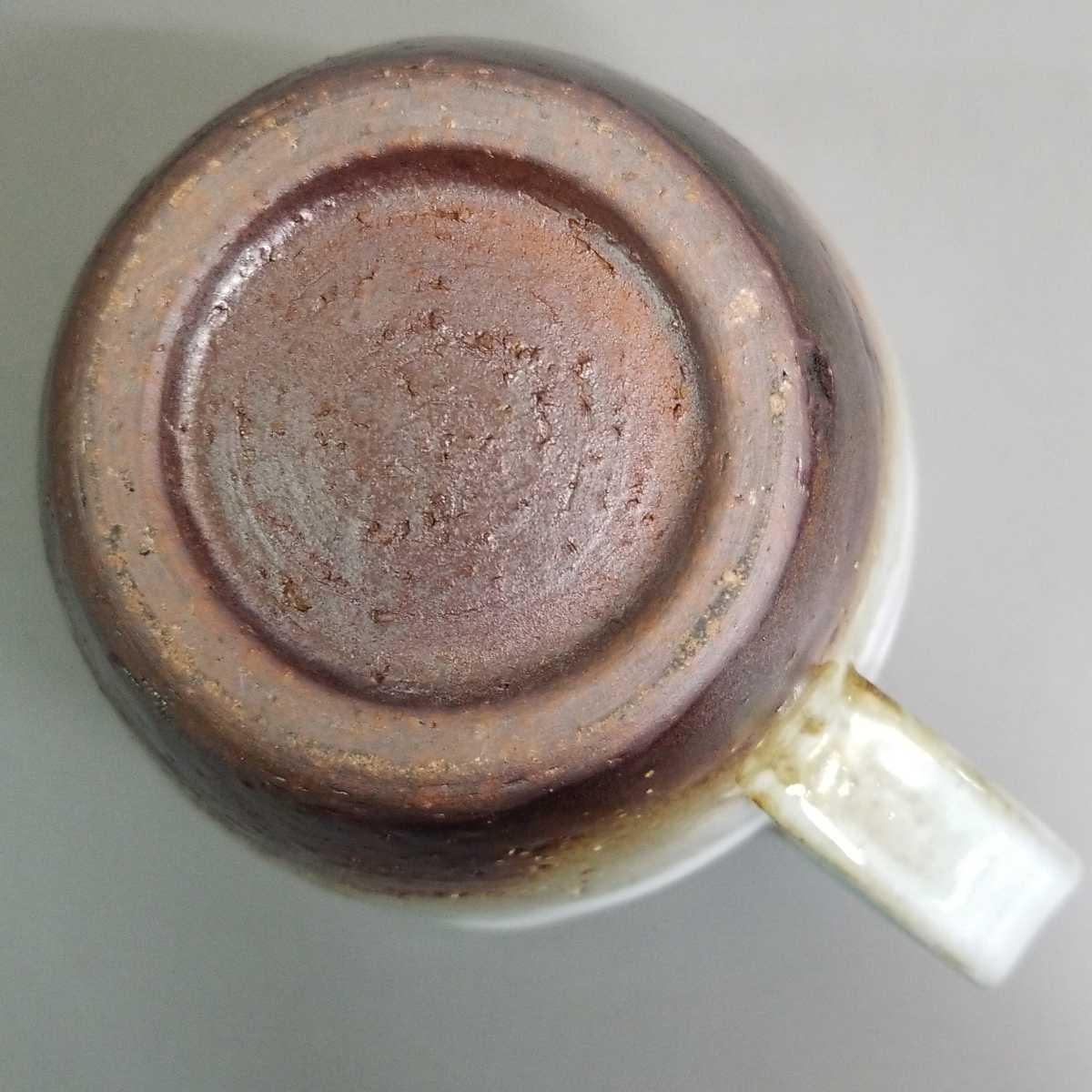 辞64)萩焼 山根清玩 三彩マグカップ コーヒーカップ 珈琲器 未使用新品 同梱歓迎_画像6