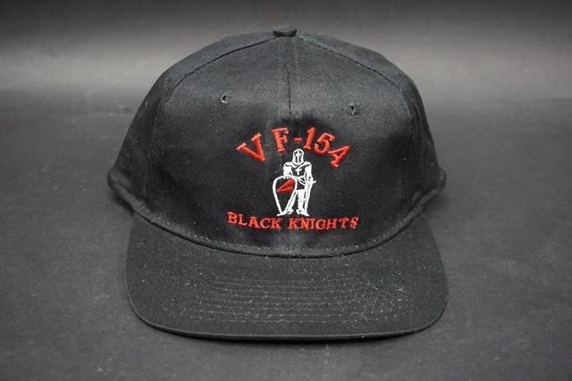 ★ アメリカ海軍 VF-154 BLACK KNIGHTS ブラックナイツ 飛行隊 識別帽 / キャップ / 帽子 フリーサイズ_画像1