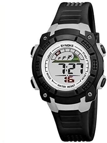ブラック 子供腕時計防水led デジタル表示ライト付き アラーム ストップウォッチ機能 12/24時刻切替え多機能スポーツ腕時計_画像1
