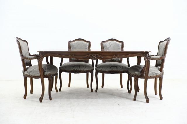 カリモク ドマーニ 「ルイXV」ダイニング5点セット 104万 テーブル アームチェア 椅子 机 ブナ材 食卓 猫脚 彫刻 英国 domani Louis XV