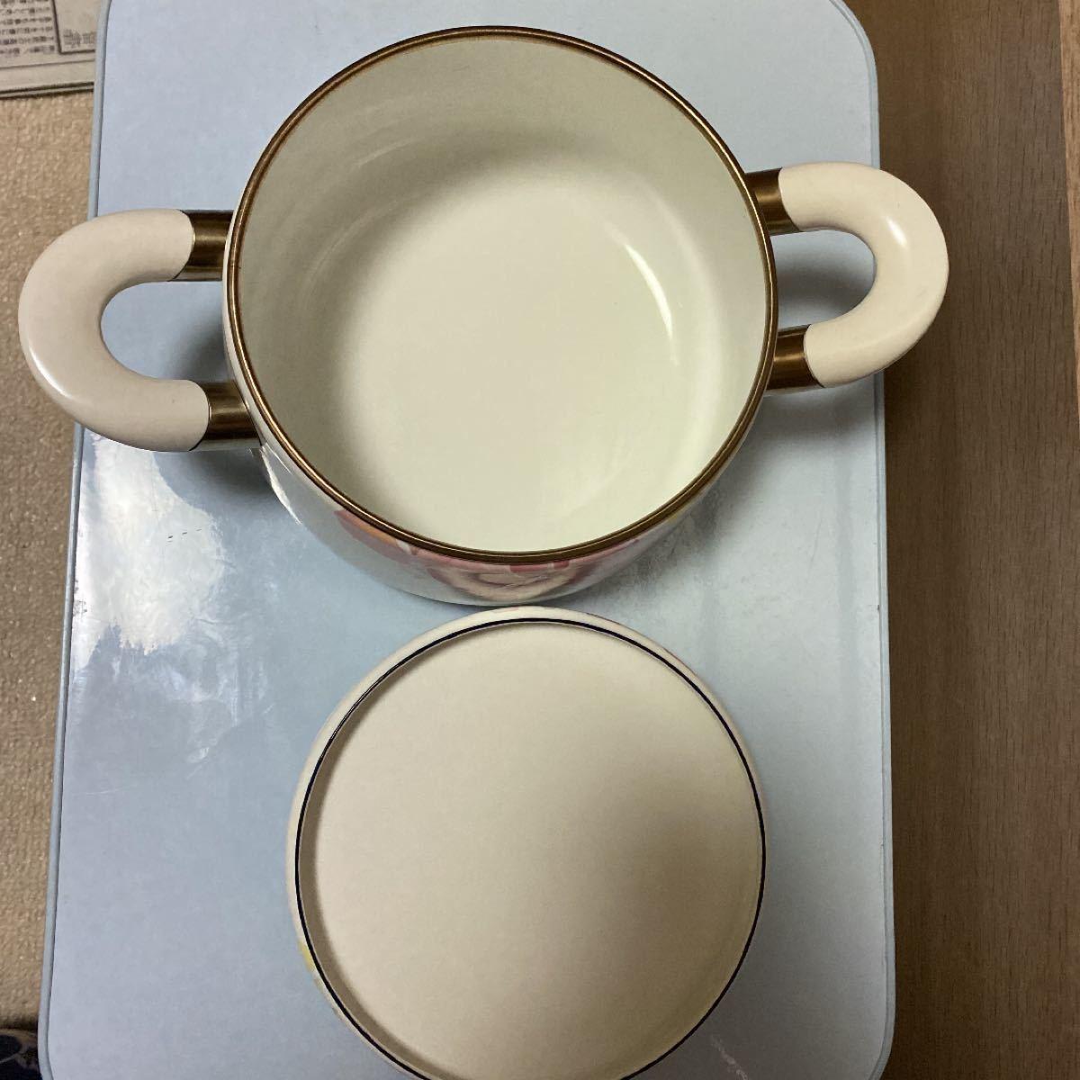 象印 ALLEN BALLY ホーロー鍋 胡蝶蘭 両手鍋 約20cm IH対応