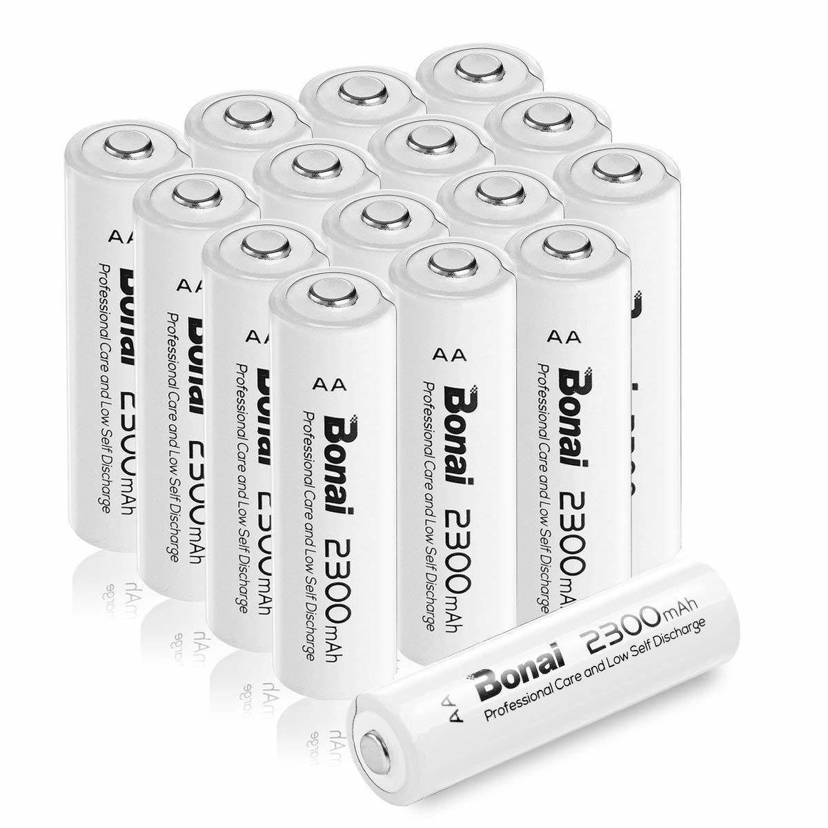 [新品/送料無料] Bonai 単3形 充電池 充電式ニッケル水素電池 16個パック PSE/CEマーキング取得 UL認証済(高容量2300mAh 約1200回使用可)_画像1