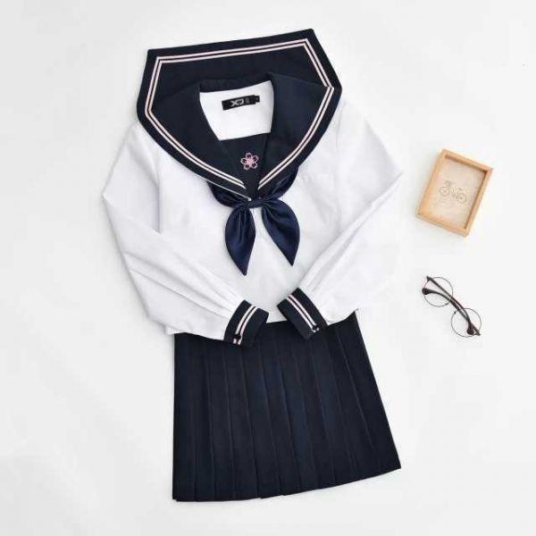 セーラー服 長袖 上着+スカート+リボンセット コスチューム コスプレ衣装 女子高生 学生服 ハロウィン仮装 制服 学園祭 上下_画像5