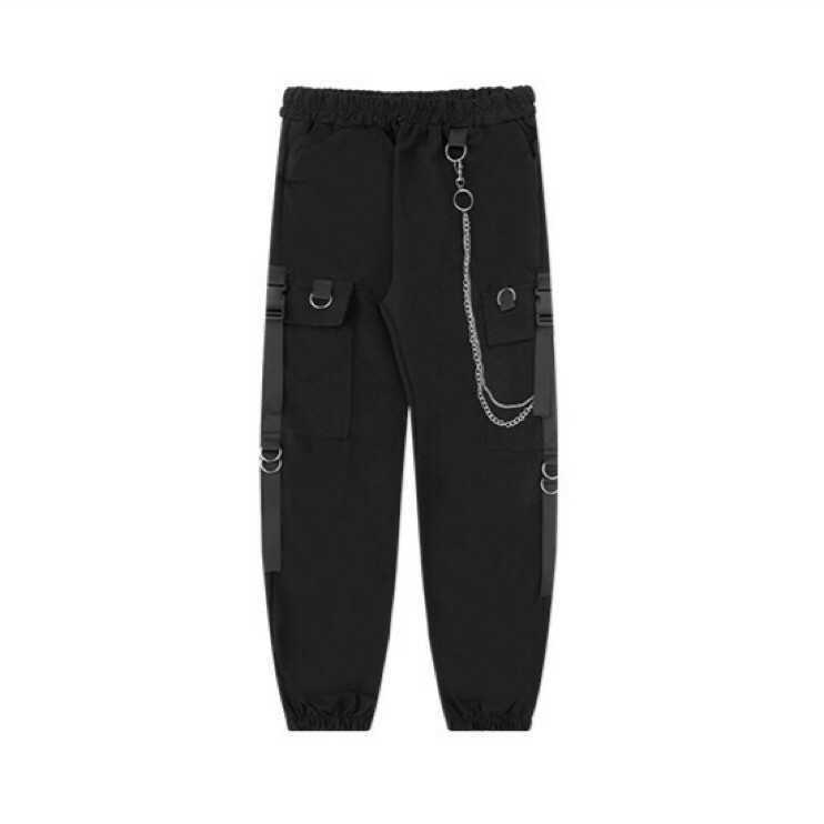 ジョガーパンツ テーパードパンツ チェーン ストリート カーゴパンツ 黒 白 M L XL メンズ レディース オルチャン 韓国 原宿 選択可