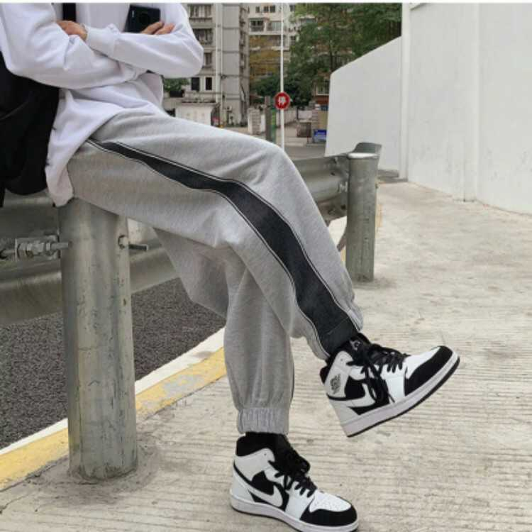 ジョガーパンツ テーパードパンツ サイドジップ ボトムス スウェット メンズ レディース L 黒 グレー 白 オルチャン 韓国 ストリート