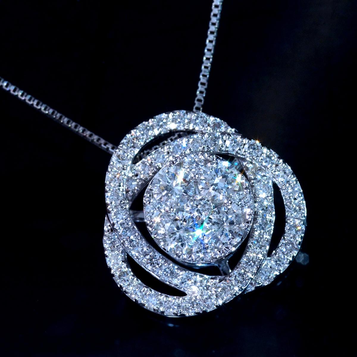 *PN5801【BC新作ブライダルコレクション】新品!令和新作Design 天然上質ダイヤモンド0.75ct 最高級18金WG無垢ネックレス