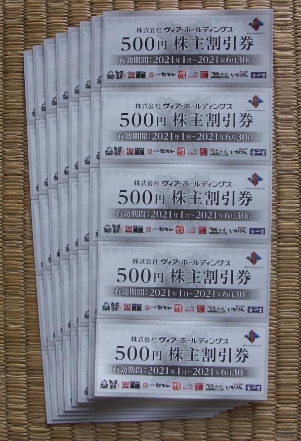 ヴィア・ホールディングス 株主優待券2万円(500円*40枚)有効期限2021年6月30日:特定記録郵便の送料込_画像1