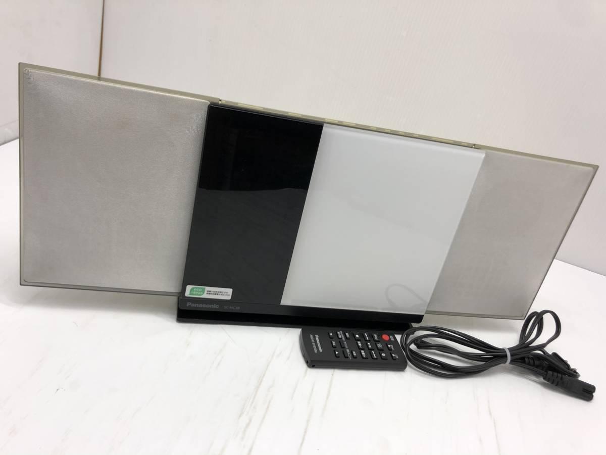 送料無料S30534 Panasonic パナソニックコンパクトステレオシステム SC-HC38 リモコンBluetooth CD iPOD_画像1