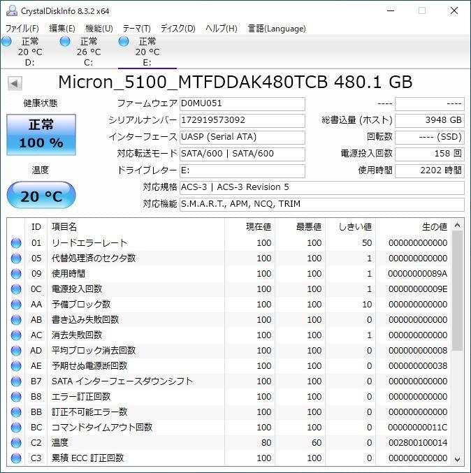 美品 高耐久 Micron Crucial 5100PRO 480GB 3D eTLC チップ SATA 2.5inch S-ATA最高性能 SSD エンタープライズ データセンター