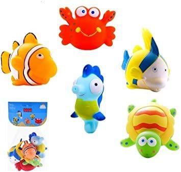 マルチカラー 赤ちゃん お風呂 おもちゃ プール 水遊び 噴水 かわいい 海の生き物 5個セット_画像1