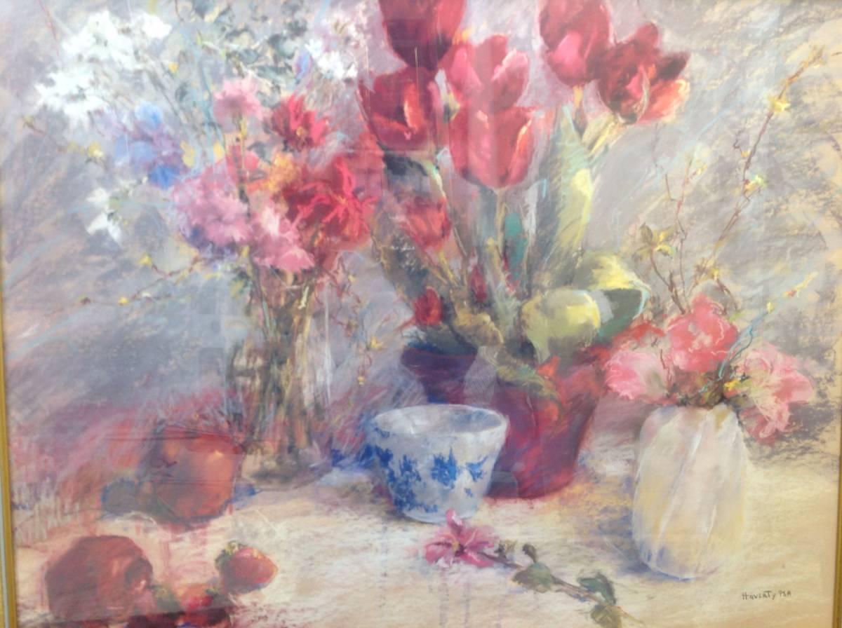 ポスター 横 特寸法 チューリップ ピンク 赤い花 額装仕上げ品