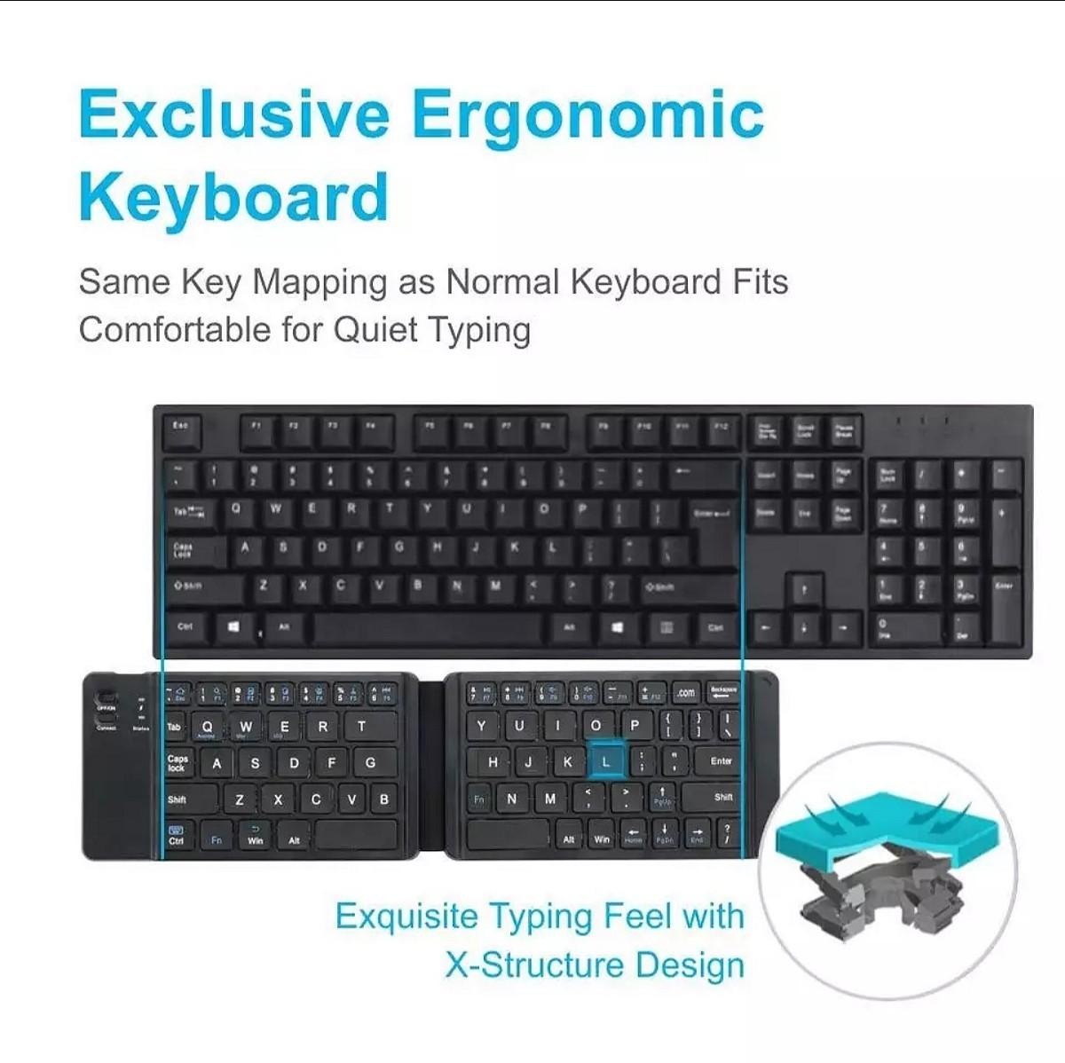 【超便利♪】 ワイヤレス キーボード ポータブル Bluetooth 折り畳み式 コンパクト テレワーク 在宅 出張 グッズ