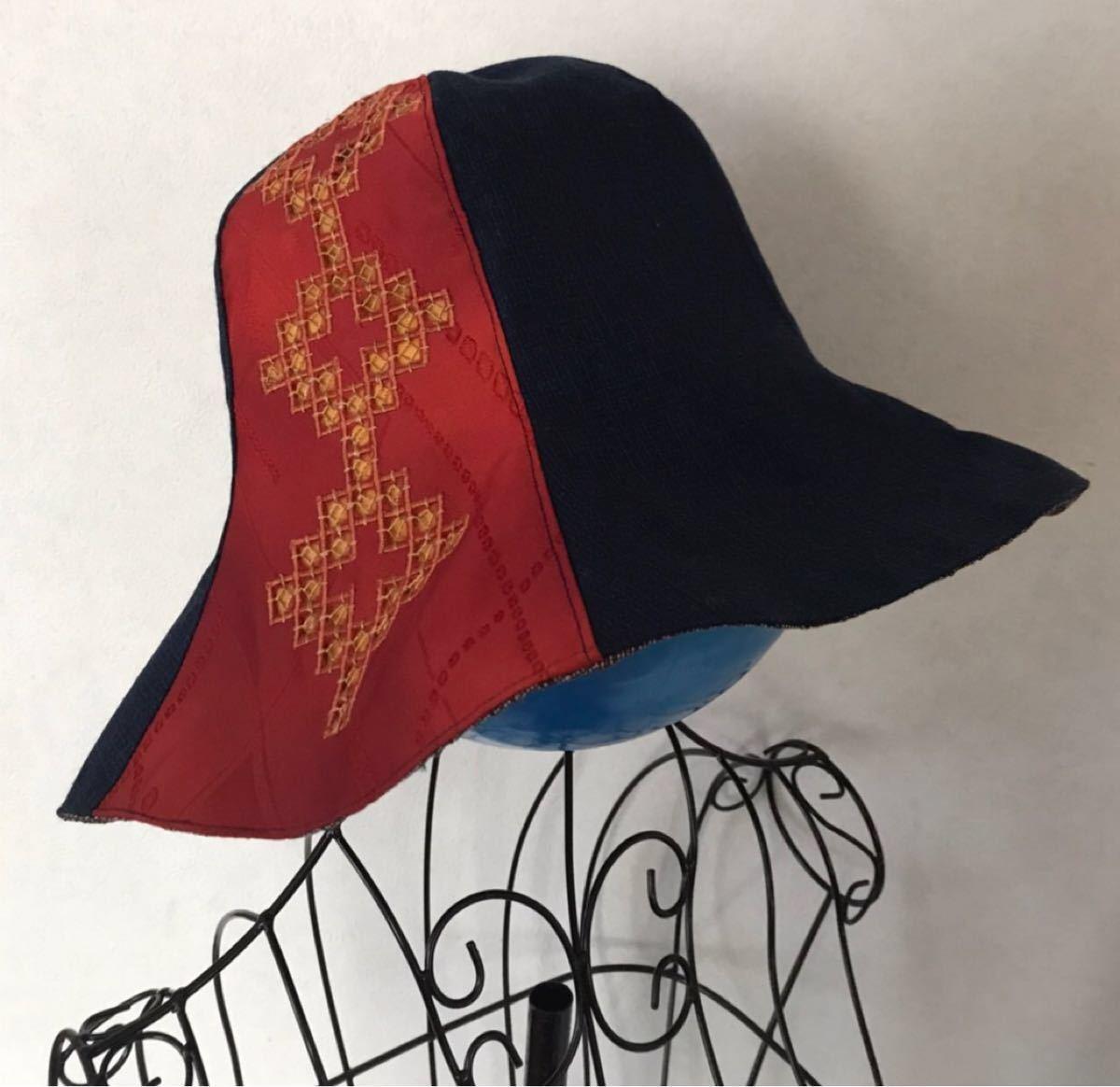 ハンドメイド ハンドメイド帽子 帽子 着物リメイク 着物 リメイク