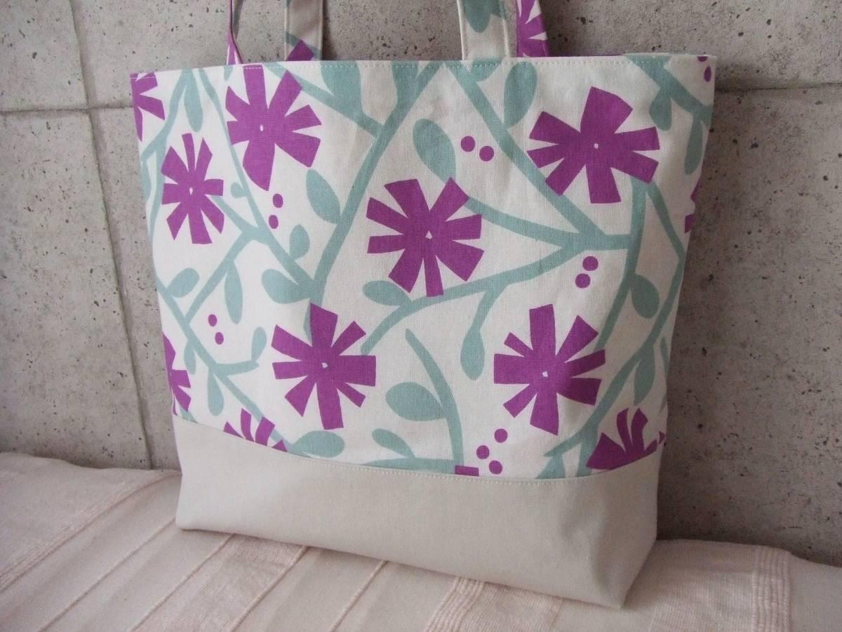 ハンドメイド 幅40 北欧柄 花柄 紫 帆布 綿麻 ショルダーバッグ トート 普段使い 内ポケット カラー帆布_画像2