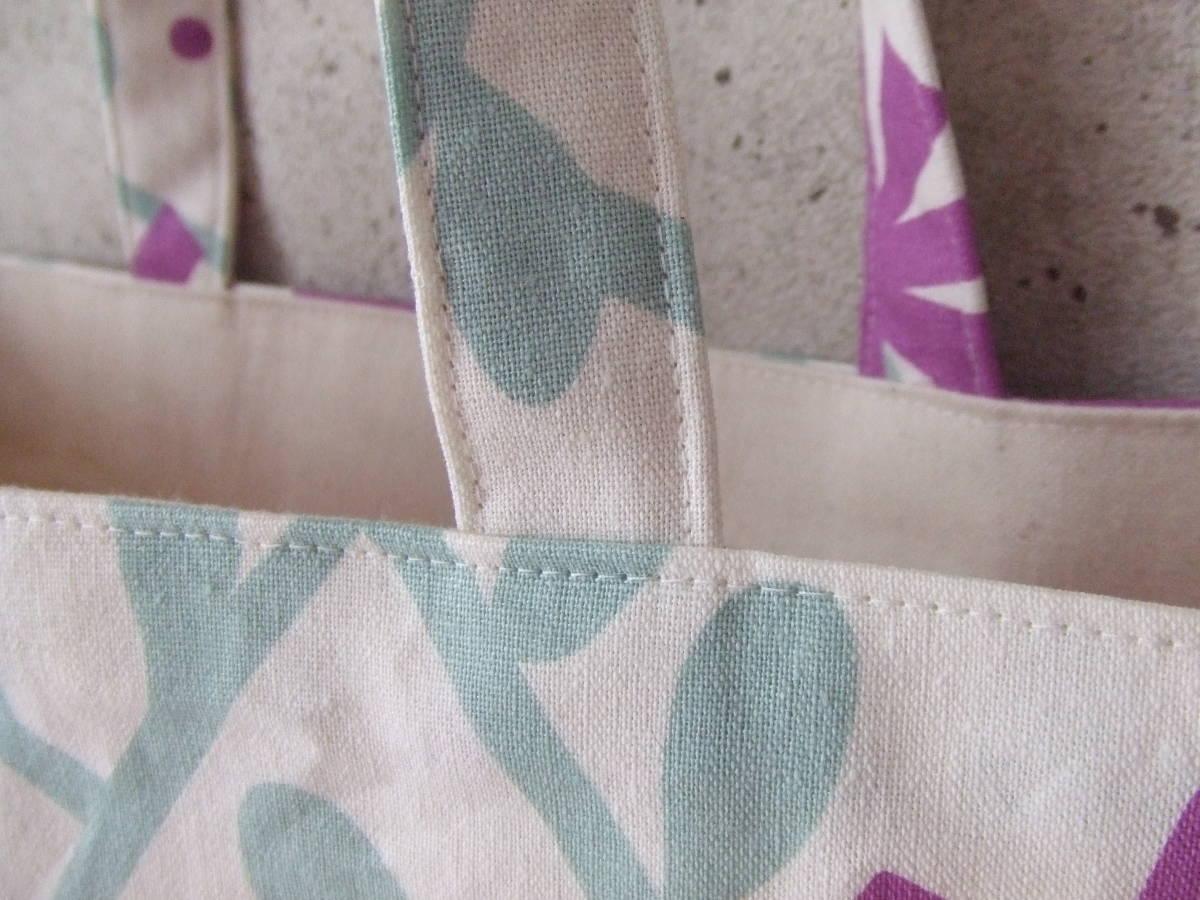 ハンドメイド 幅40 北欧柄 花柄 紫 帆布 綿麻 ショルダーバッグ トート 普段使い 内ポケット カラー帆布_画像4