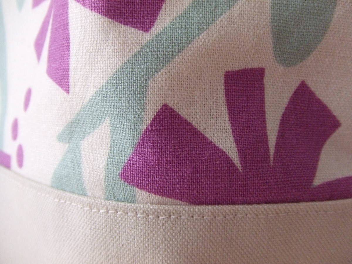 ハンドメイド 幅40 北欧柄 花柄 紫 帆布 綿麻 ショルダーバッグ トート 普段使い 内ポケット カラー帆布_画像6