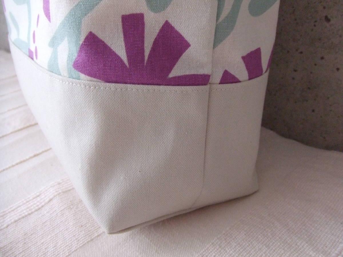 ハンドメイド 幅40 北欧柄 花柄 紫 帆布 綿麻 ショルダーバッグ トート 普段使い 内ポケット カラー帆布_画像3