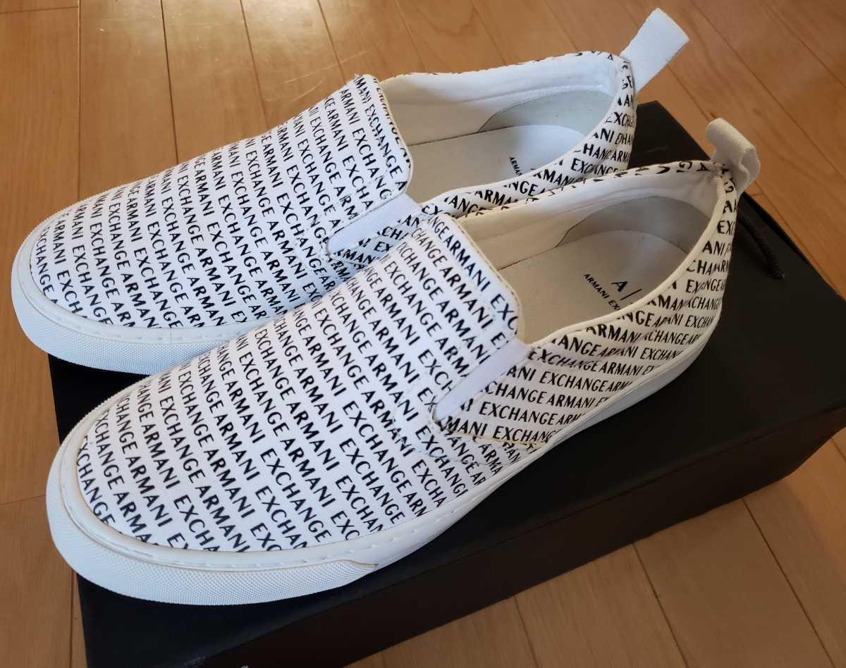 新品未使用 正規店購入 ARMANI EXCHANGE アルマーニエクスチェンジ スニーカー 靴 スリッポン サイズUS10 白 黒 ホワイト ブラック