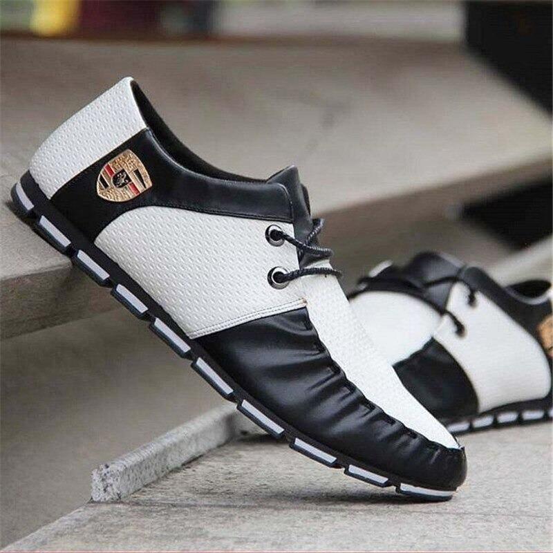 ☆【送料無料】スニーカー スリッポン メンズ ローファー カジュアル 軽量 ドライビング レースアップ 紳士靴 24.5~27.0 ホワイト_画像5