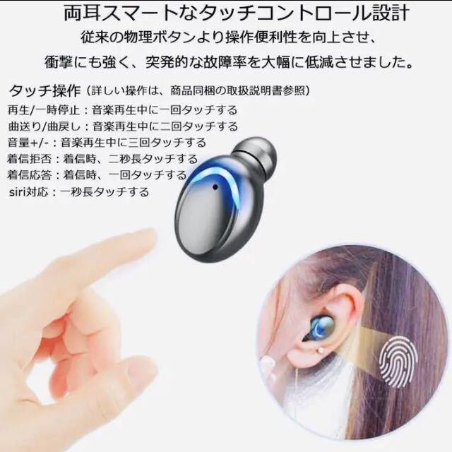 送料無料!1円~タッチ操作 Bluetoothイヤホン ワイヤレスイヤホン Bluetooth5.1 Hi-Fi高音質 ペアリング自動 IPX7防水 iPhone Android_画像4
