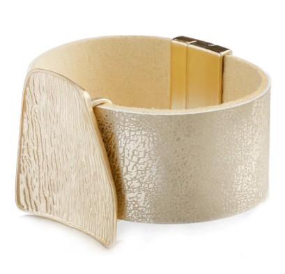 A455 ブレスレット フォーマル ジュエリ- 女性 女の子 シャンパンゴールドメタルチャーム革のワイドラップブレスレット | 1円即決価格!_画像5