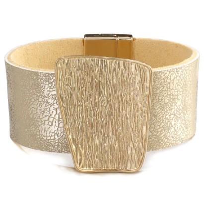 A455 ブレスレット フォーマル ジュエリ- 女性 女の子 シャンパンゴールドメタルチャーム革のワイドラップブレスレット | 1円即決価格!_画像4