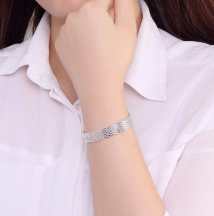 A465 ブレスレット フォーマル ジュエリ- 女性 925スターリングシルバー カフチャーム編組ブレスレットチェーンバングル | 1円即決価格!_画像5