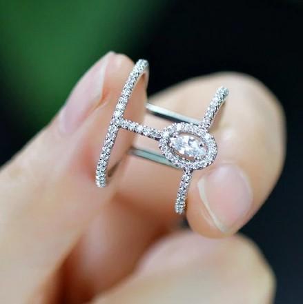 A532 指輪 リング ジュエリー 調節可能 女性 レディース 女子 女の子 マイクロキュービックジルコニア石シルバー | 1円即決価格!_画像6