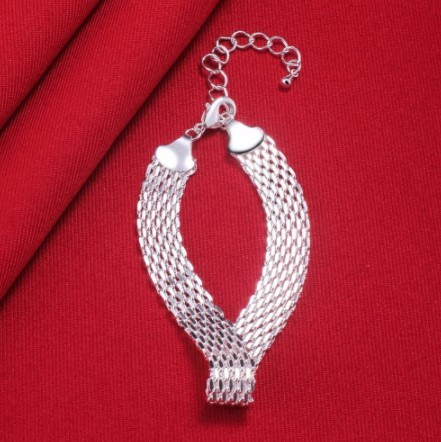A465 ブレスレット フォーマル ジュエリ- 女性 925スターリングシルバー カフチャーム編組ブレスレットチェーンバングル | 1円即決価格!_画像3