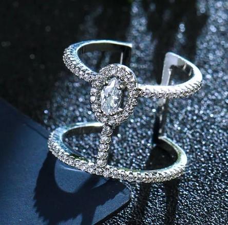 A532 指輪 リング ジュエリー 調節可能 女性 レディース 女子 女の子 マイクロキュービックジルコニア石シルバー | 1円即決価格!_画像4
