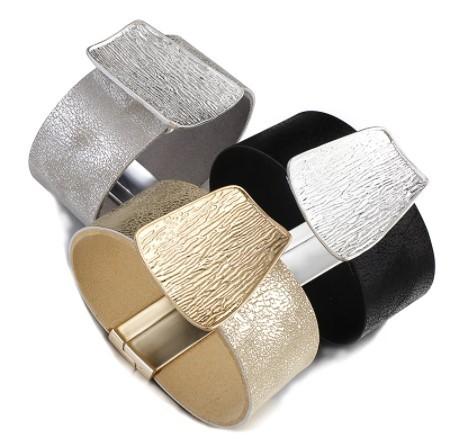 A455 ブレスレット フォーマル ジュエリ- 女性 女の子 シャンパンゴールドメタルチャーム革のワイドラップブレスレット | 1円即決価格!_画像7