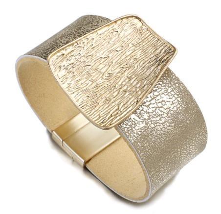 A455 ブレスレット フォーマル ジュエリ- 女性 女の子 シャンパンゴールドメタルチャーム革のワイドラップブレスレット | 1円即決価格!_①ゴールド