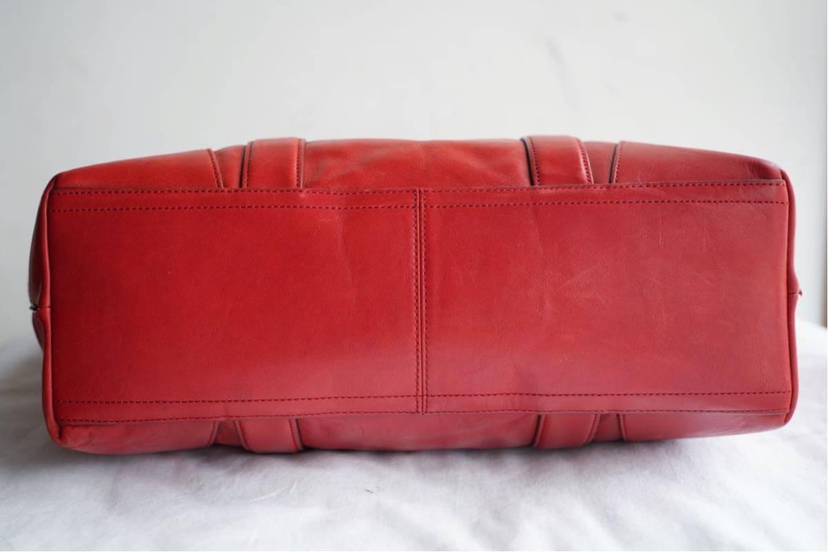 美品 コーチ COACH A4収納 PC収納 トートバッグ バッグ ビジネスバッグ 赤 レッド ボルドー レザー メンズバッグ 革 オールドコーチ_画像8