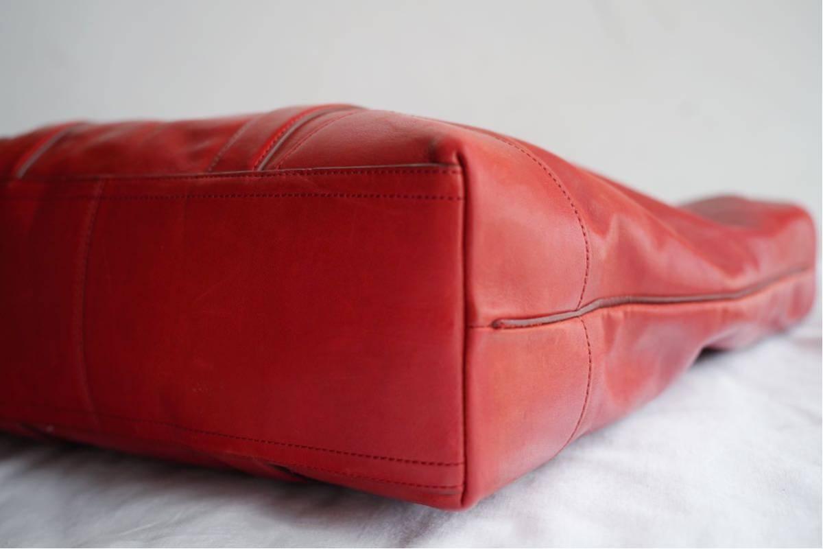 美品 コーチ COACH A4収納 PC収納 トートバッグ バッグ ビジネスバッグ 赤 レッド ボルドー レザー メンズバッグ 革 オールドコーチ_画像7