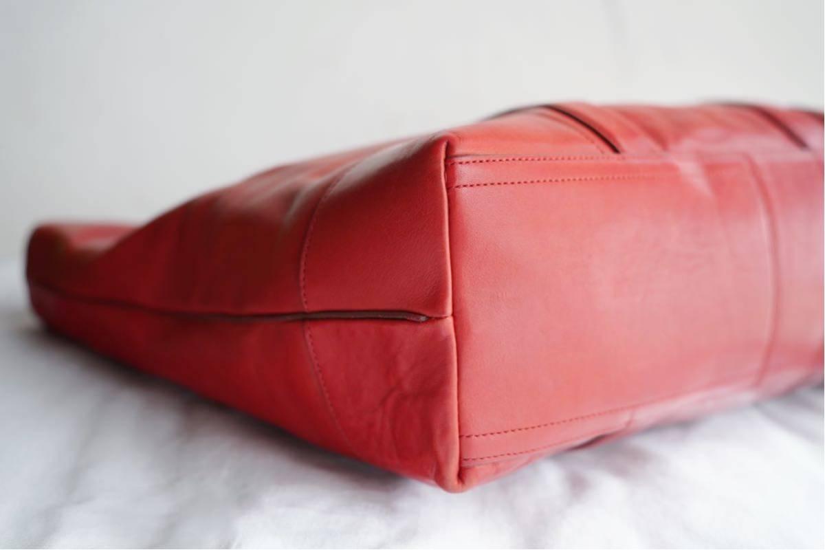 美品 コーチ COACH A4収納 PC収納 トートバッグ バッグ ビジネスバッグ 赤 レッド ボルドー レザー メンズバッグ 革 オールドコーチ_画像6