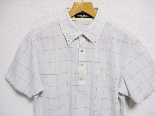 ルコックゴルフ ボタンダウン 吸汗速乾 半袖ポロシャツ Lサイズ le coq sportif GOLF COLLECTION _画像2