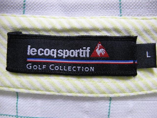 ルコックゴルフ ボタンダウン 吸汗速乾 半袖ポロシャツ Lサイズ le coq sportif GOLF COLLECTION _画像4