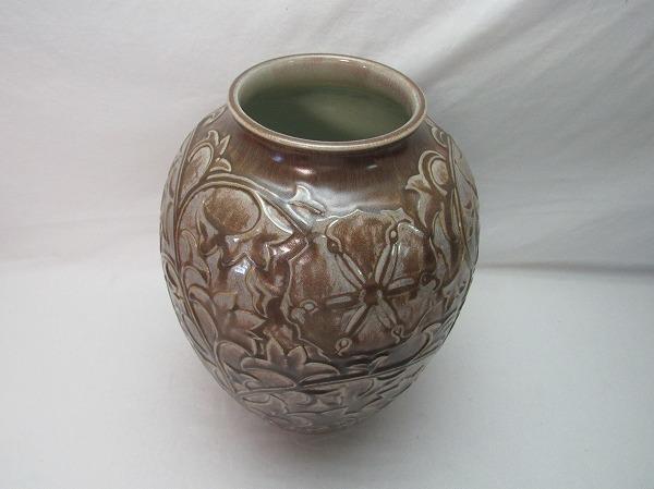 O304807【 古い 花瓶 在銘 箱無 】 検) 陶器 美品 華道具 一輪挿 花入 花活 フラワーベース 花器 花生 いけばな 床飾り 飾り壷 壺 置物ⅳ_画像3