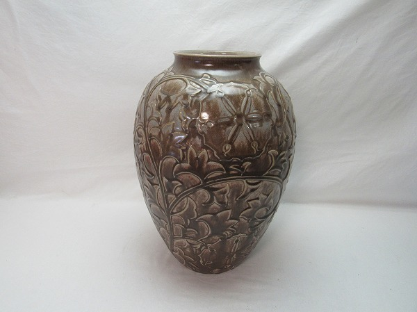 O304807【 古い 花瓶 在銘 箱無 】 検) 陶器 美品 華道具 一輪挿 花入 花活 フラワーベース 花器 花生 いけばな 床飾り 飾り壷 壺 置物ⅳ_画像2